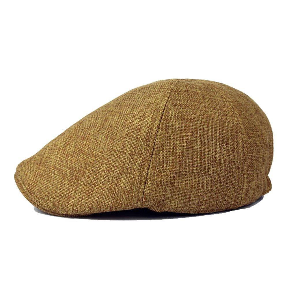 Idopy Linen-Like Flat Cap Cabbie 6 Panel Gatsby Ivy Irish Driving Newsboy Hat