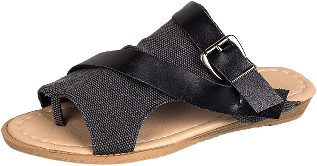 3ab96aaec BSGSH Women's Casual Summer Strappy Buckle Cutout Stacked Fashion Flat Slide  Sandal