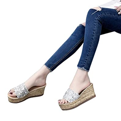 0e29e6724 Women Summer Sandals HEHEM Glitter Platform Gladiator Casual Shoes Women  Slip On Slippers Flip Flops Sandal