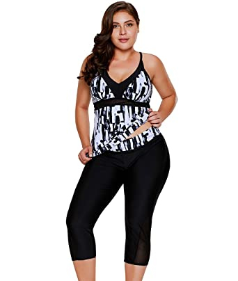 ec033e120bd Lalagen Women s Plus Size Rash Guard Capris Tankini Athletic Swimwear Black  S