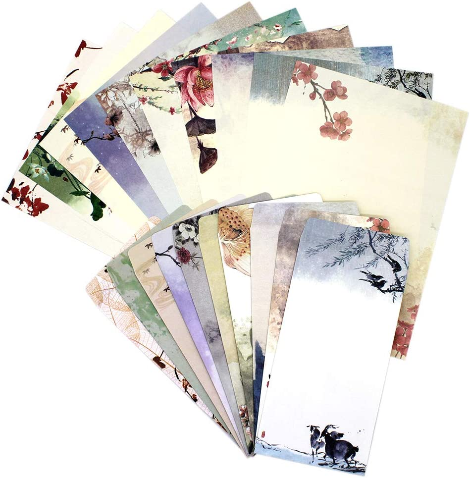 Stationary Paper and Envelopes Set,60PCS Stationary Set(40 stationery Papers + 20 Envelopes) 10 Different Color Ink Painting Classic Vintage Antique Design With Tape. (60 PC)