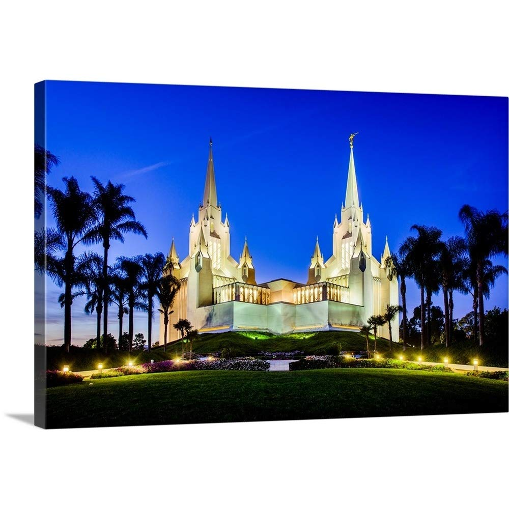 Gallery-Wrapped Canvas Entitled San Diego California Temple, Lights at Dusk, San Diego, California by Scott Jarvie 24''x16''