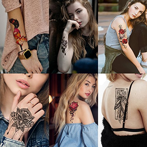 Temporary Tattoo 3 Sheets - Kotbs 6 Sheets Sexy Temporary Tattoo Body Art 3d Fox Owl Flower Tattoo Sticker for Women Girl Fake Tattoos Painless Stickers