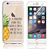 iPhone 5s 5 SE Soft TPU Silicone Bumper Colorful Case, Sunroyal Premium Clear Ultra-thin Scratch Resistant Slim Transparent Protective Cover Skin Shell + Anti Dust Screen Protector Pineapple Pattern