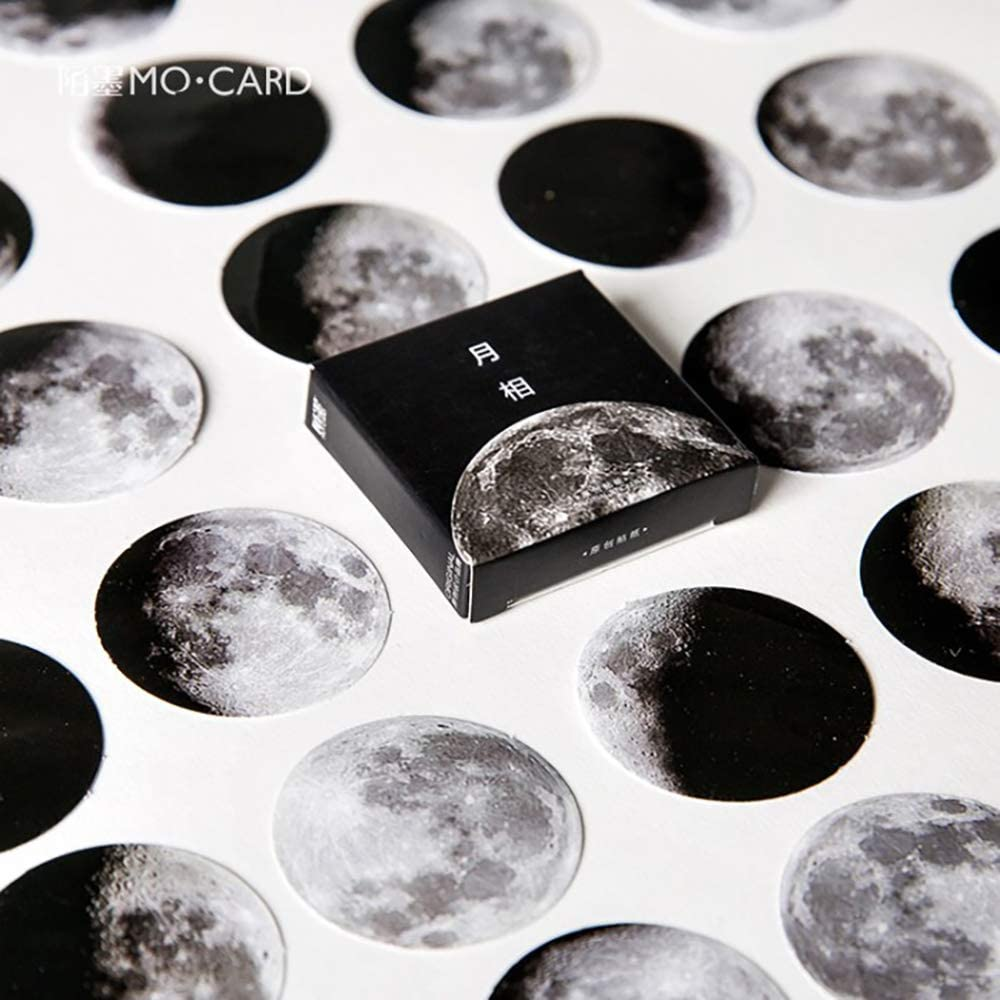 Mini Size Scrapbooks Stickers Decals, Doraking DIY Decoration Super Cool Moon Stickers for Laptop Scrapbook Suitcase Notebooks Album, Dimension Less 1.73'', Including Repeat (Moon Phase, 45pcs/Box)