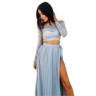 ESAILQ Women Lace Long Sleeve Summer Tops+Chiffon Formal Party Cocktail Skirt