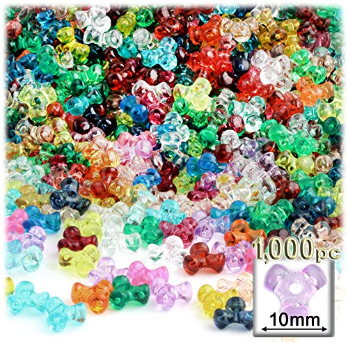 The Crafts Outlet 1000-Piece Plastic Transparent Tri Beads, 10mm, Multi Mix