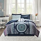 Purple and Blue Bedding Sets Intelligent Design Loretta Ultra Soft Brushed Microfiber Bohemian Boho Medallion Comforter and Sheet Set Bag Bedding, Queen, Navy, Purple, Aqua 9 Piece