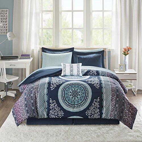 Intelligent Design Loretta Ultra Soft Brushed Microfiber Bohemian Boho Medallion Comforter and Sheet Set Bag Bedding, Full, Navy, Purple, Aqua 9 Piece