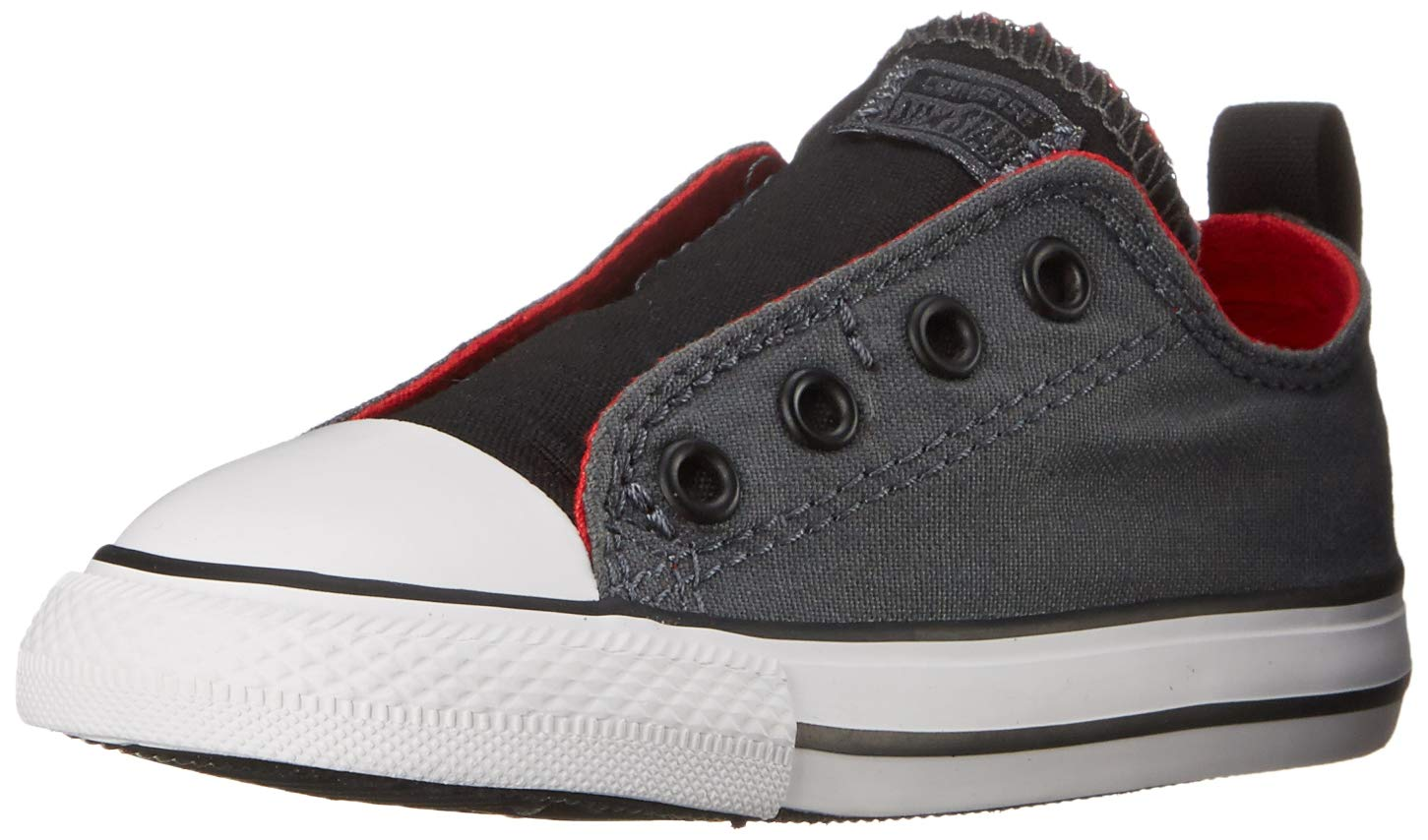 Converse Kids Boys' Chuck Taylor All Star Simple Slip (Infant/Toddler), Thunder/Casino/Black 10 M