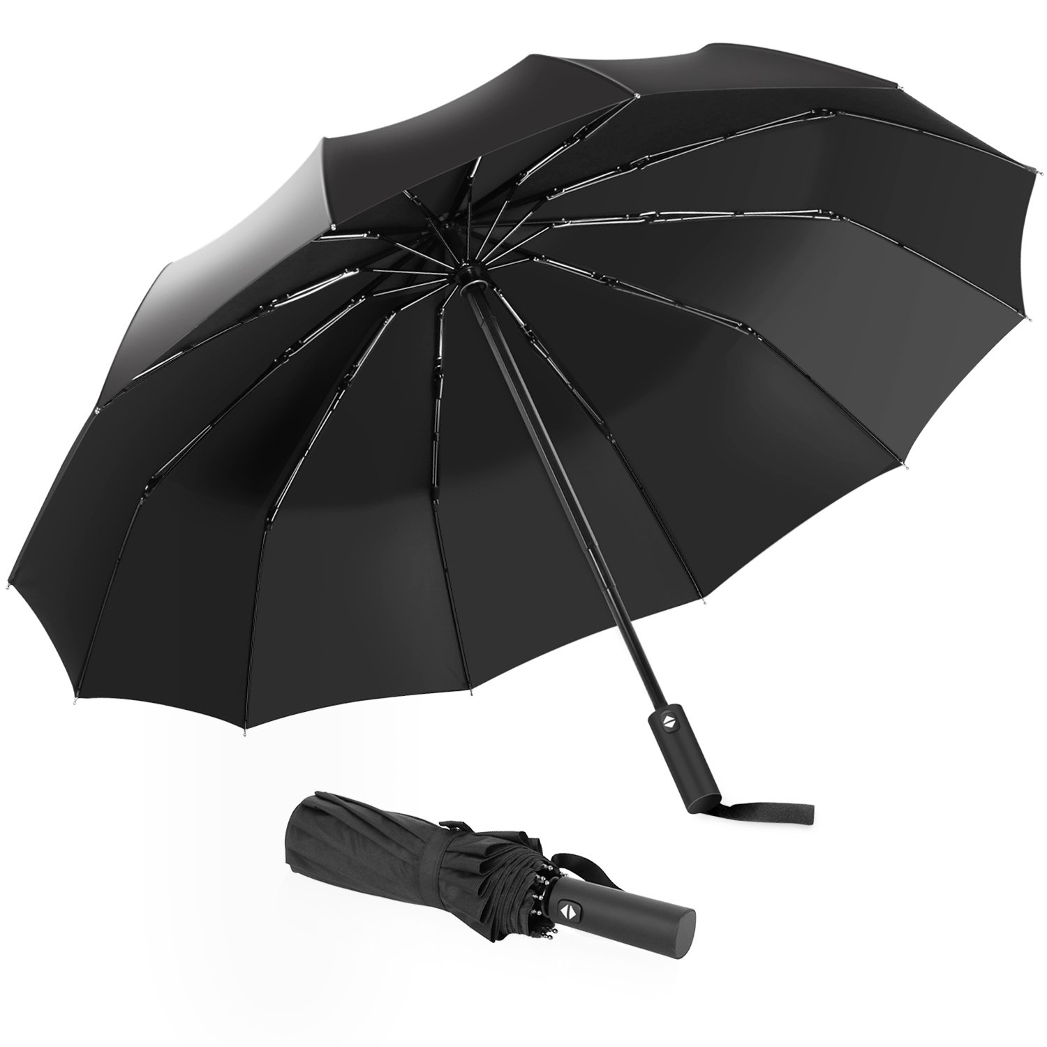 Compact Fast Drying Travel Windproof Umbrella - with 12 Reinforced Windproof Frame, Auto Open/Close, Slip-Proof Handle for Easy Carry (Black)