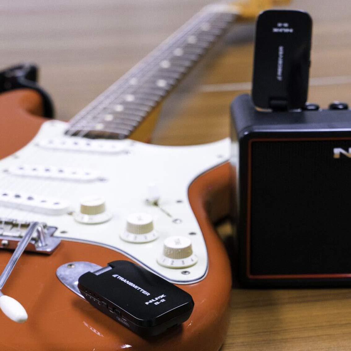 NUX Guitarra Inalámbrica batería 4 canales 2.4 GHz Sistema Inalámbrico Audio Transmisor Receptor: Amazon.es: Instrumentos musicales