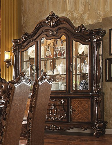 Oak China Hutch (ACME Versailles Cherry Oak Hutch Buffet)