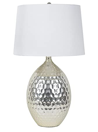 Décor Therapy TL9355 Silver Hammered Ceramic Table Lamp - - Amazon.com