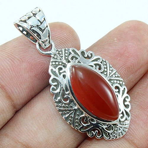 Carnelian Textured Solid 925 Sterling Silver ()