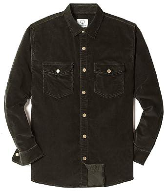 Mocotono Mens Cotton Stretch Corduroy Shirt Long Sleeve Casual