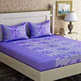 Fabture Flower Printed Glace Cotton Double Bedsheet with 2 Pillow Covers - Purple