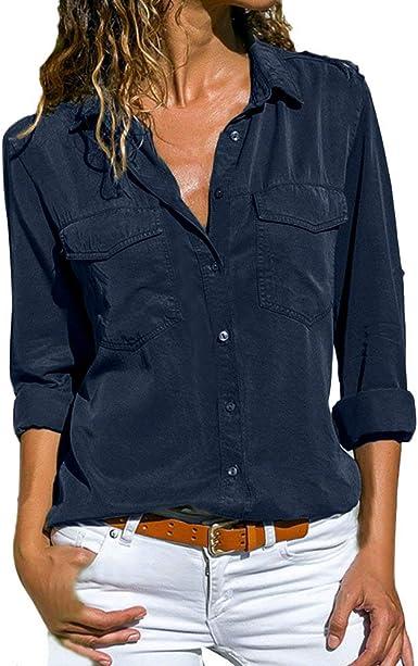 Camisa Mujer Blanca Manga Larga Talla Grande Negra Sexy Cuadros Corta Vestir Botones Gasa Verano Vaquera Verde Azule Blusas para Mujer Elegantes Fiesta Camisetas POLP (L, Armada): Amazon.es: Ropa y accesorios
