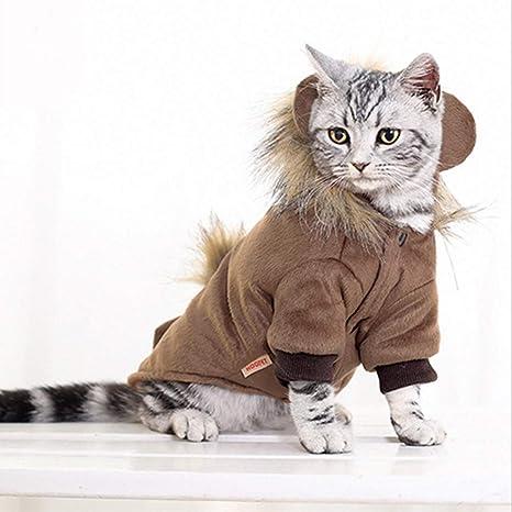 Peluca de león para Gato, Perro o Gato, para Invierno, con Oreja y