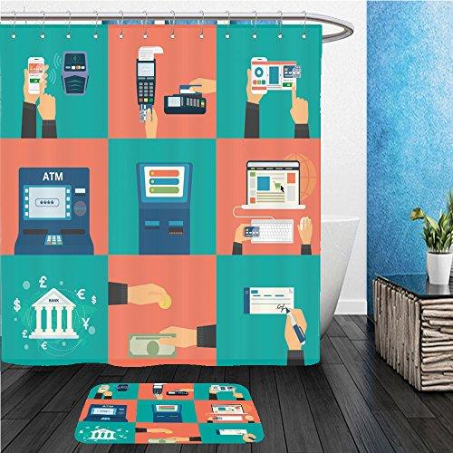 Beshowereb Bath Suit: ShowerCurtian & Doormat flat concept vector illustration set of payment methods such as credit card with website nfc - Macys Website