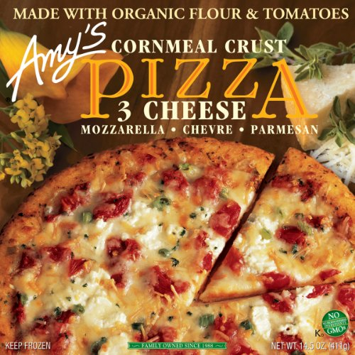 Amy's Three Cheese Pizza with Corn Crust, Organic, 14.5-Ounce Boxes (Pack of 8)