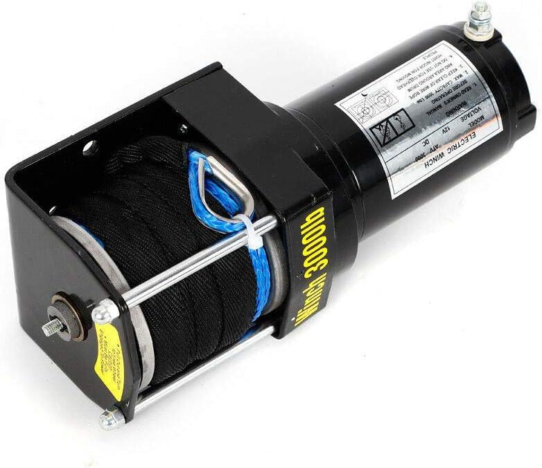 12V 3000LBS 1360KG Elektrische Seilwinde Winde Motorwinde Offroad Trailer Funkfernbedienung mit Fernbedienung Seilzugwinde 153:1 Auto