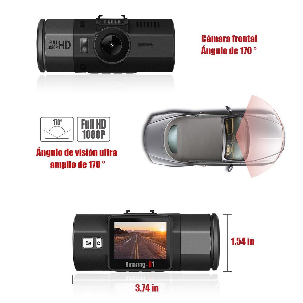 Oasser Cámara de Coche Coche DVR Tacómetro Registrador FHD 1920x1080P con 32 GB tarjeta micro SD 170 grados de Amplio Ángulo con G-Sensor con visión ...