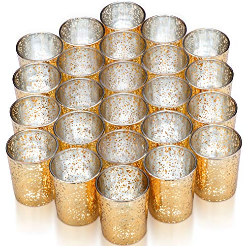 Vizayo Gold Votive Candle Holders - Set of 24 Mercury Glass Votives and Tealight Candle Holder - Gold Wedding Decorations (Glass Holders Tea Light Mercury)