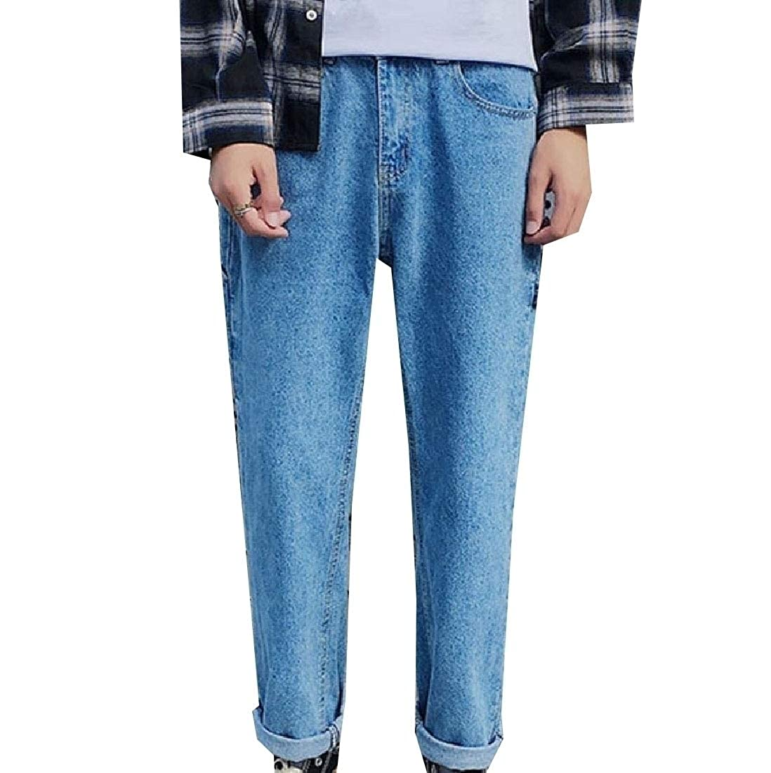 Young2 Mens Casual Wide Leg Straight Harem Relaxed-Fit Jeans Pants