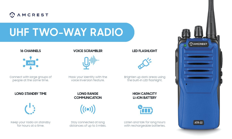 Black Flashlight 420-470 MHz Headphone and Mic ATR-22BLACK2 Lithium-Ion Battery Amcrest ATR-22 Two-Way Radio Walkie Talkie 16 Channels