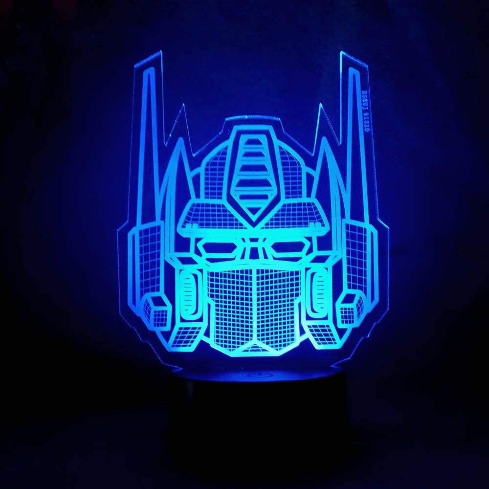 Amroe 3D Night Light Character Boy Gift Transformers Illusion Desk Table Led Night Light Colorful Lamparas Lamp Child KidsHoliday Xmas Party Decor