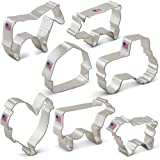Farm Cookie Cutter Set - 7 piece - Rooster, Cow, Pig, Lamb, Horse, Barn and Tractor - Ann Clark - Tin Plated Steel