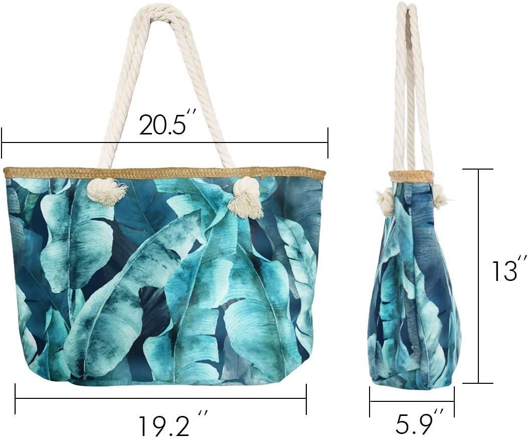 Banana Leaves Travel Shoulder Bag with Inner Pocket Waterproof Canvas Tote Bag Large Pool Bag SNAILMAN Beach Bag Picnic Bag