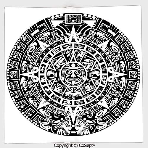 - Lightweight Square Towel,Mayan Calendar Astronomy Belief Traditional Stars Face Ethnicity Culture Art,for Adults Girls Boys Women Men(9.84x9.84 inch),