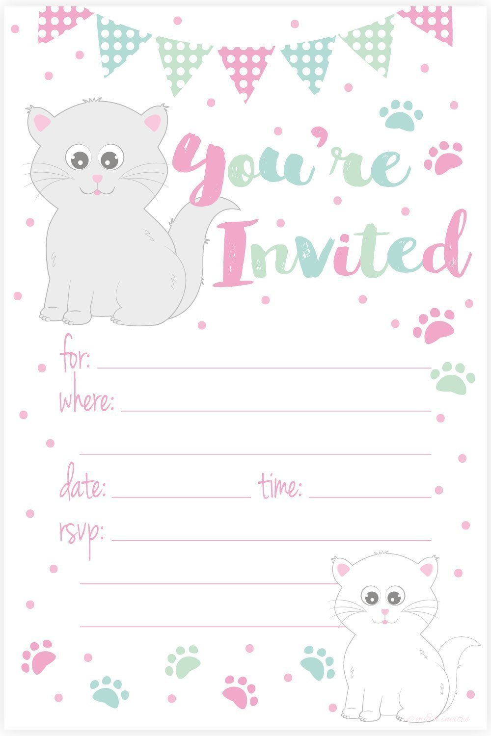 70%OFF Kitty Cat Birthday Party Invitations - Fill In Style (20 ...