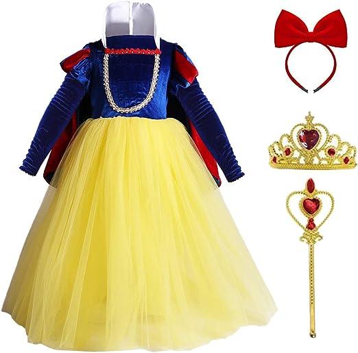 Blancanieves Disfraz Niña Vestidos de Princesa con Capa Corona ...