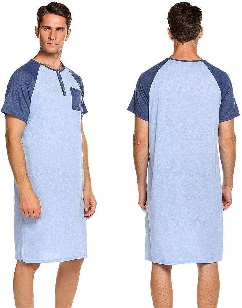 Camicia da notte in cotone da uomo accappatoi Reglan Maniche Patchwork Mezzo Bottone Lungo Sciolto Pigiama Top