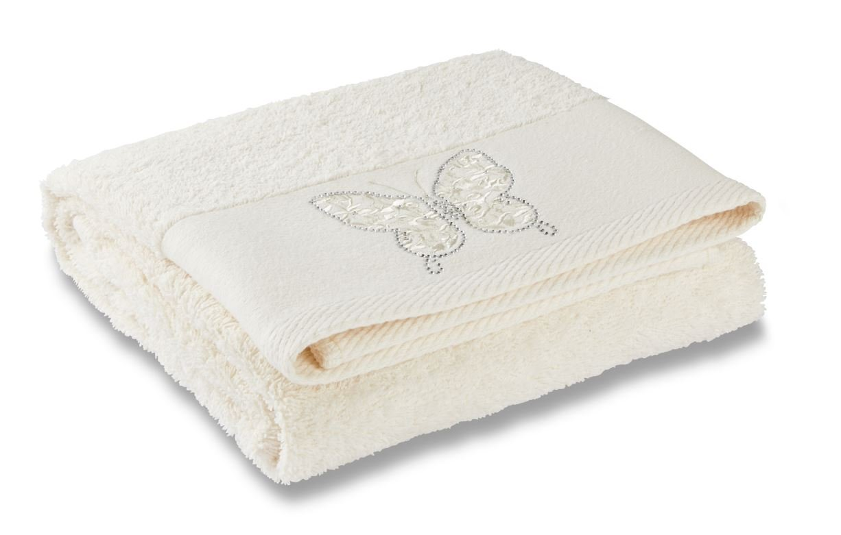 Catherine Lansfield Diamente Butterfly Bath Towel - Cream Turner Bianca TWB2-3841-WBT-Cream