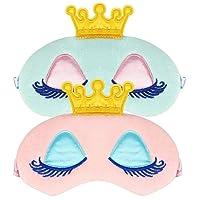 2Pcs Sleeping Mask Cute Unicorn Horn Soft Plush Blindfold Eye Cover for Women Girls