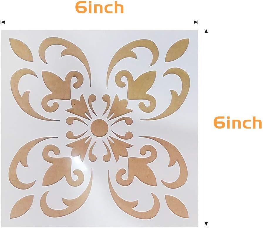 Mandala Schablone Mandala Dotting Schablonen f/ür Wand//Stein//Holz M/öbel//Malen Vorlagen 9 St/ück Wiederverwendbare Laserschnitt Malschablone//Airbrush Vorlage 6x6 Zoll