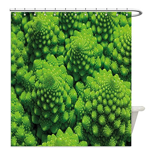 Broccoli Costume Ideas (Liguo88 Custom Waterproof Bathroom Shower Curtain Polyester Nature Broccoli Kale Mother Earth Herbs Themed Fractal Background Foliage Modern Design Lime Green Decorative bathroom)