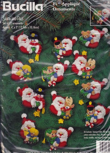 Bucilla Santa and Pals Felt Applique Ornaments 83415 ()