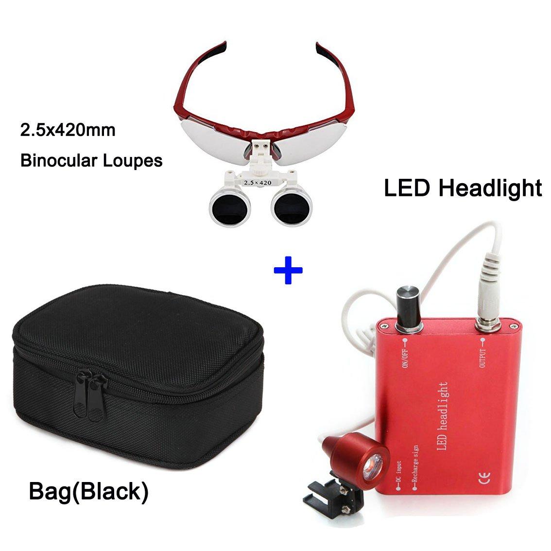 Zinnor 2.5 X 420mm Dental Surgical Medical Binocular Loupes Optical Glass Loupe + LED Head Light Lamp(Red) + Carry Bag(Black)