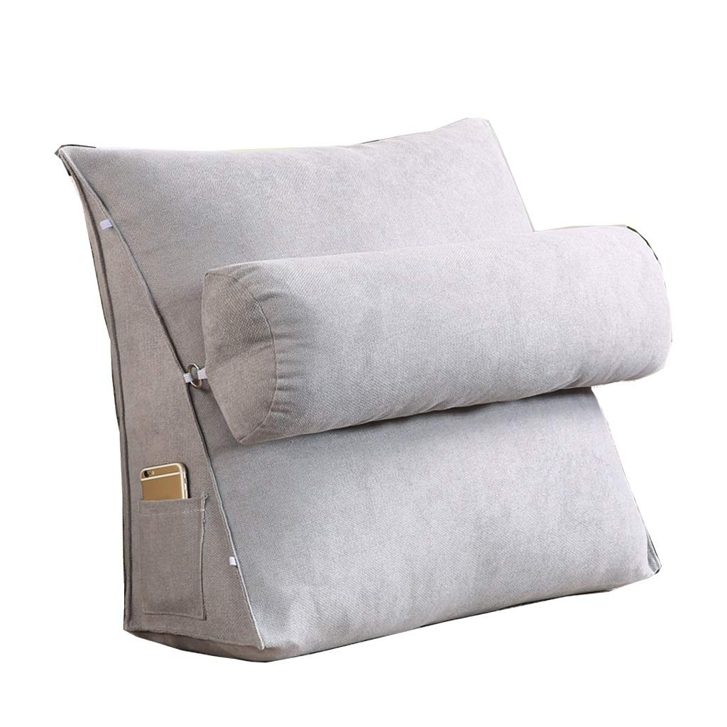 Lil with Headrest Sofa Waist Belt Triangle Cushion, Bed Head Large Office Backrest, Protection Neck Pillow,Removable Washable (Color : Silver Grey, Size : 605020cm) by LILISHANGPU (Image #1)