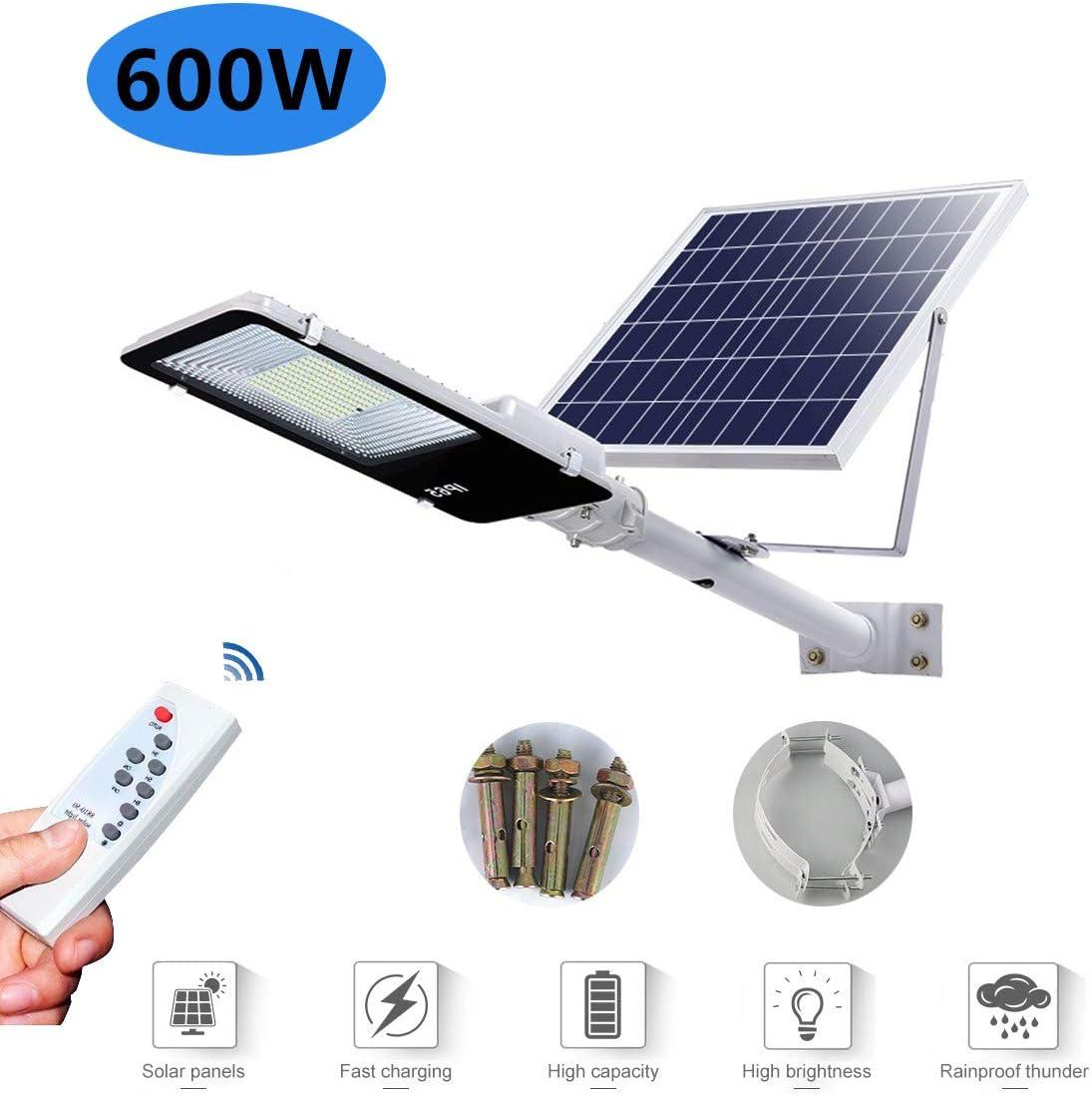 Luces de inundación solar Farola solar LED Brillo alto Luz de seguridad Con control remoto IP65 a prueba de agua Luz de jardín Lámpara de ingeniería Adecuado para Patio, Iluminación Solar Vial,400w:
