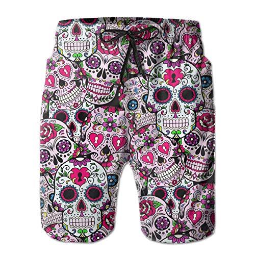 YongColer Swim Trunks for Boys Mens, Half Pants Elastic Waistband Regular & Extended Sizes Sportwear for Beach Athletic Hiking, Sugar Skull Mexcian Pattern Shorts with Elastic Drawstring -