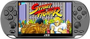 JXD New 5.1 inch 16GB 128Bit Retro Handheld Video Game Console Built-in 3000 Games for Arcade NEOGEO/CPS/FC/NES/SFC/SNES/GB/GBC/GBA/SMC/SMD/SEGA Handheld Game Console mp3/4 (Black)