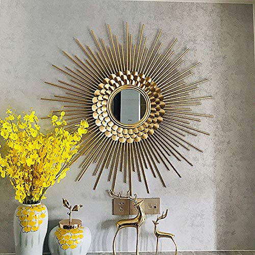 zenggp Pretty Gold Metal Sunburst Wall Mirror Decorative Luxe Boho Chic Girl Home Decor (Mirror Bamboo Sunburst)