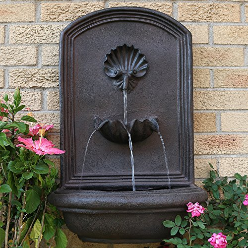 Sunnydaze Seaside Outdoor Wall Fountain, with Electric Submersible Pump 27-Inch, Iron Finish - Decorative Water Wall Fountain