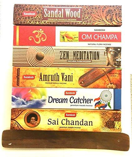 Dreams Incense (Spiritual Incense gift Set of 6 - Sai Chandan Zen Meditation Dream catcher Sandalwood Om champa Amruth Vani with Incense holder)